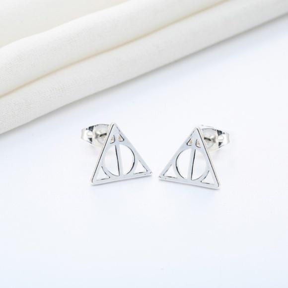 Harry Potter Deathly Hallows Stud Earrings In Sterling Silver Cyber
